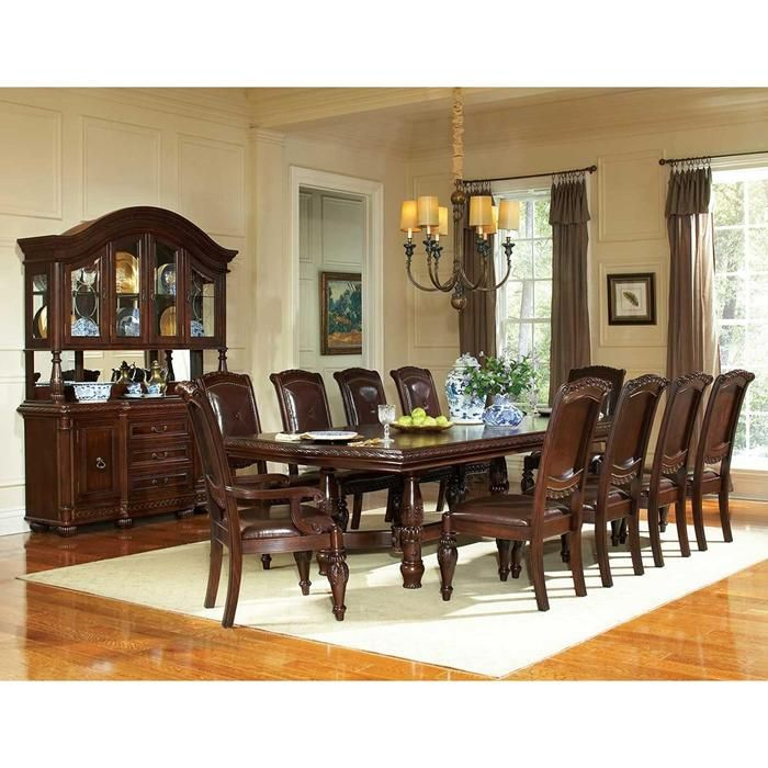 Antoinette 7 Piece Dining Set In Warm Brown Cherry