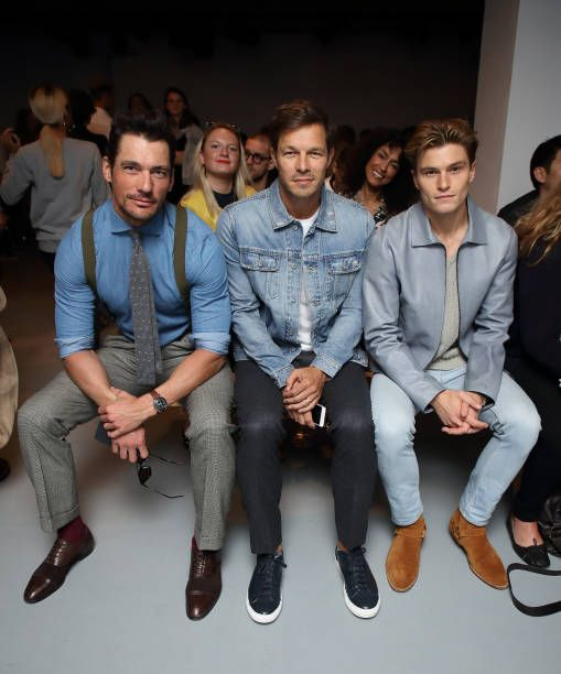 David Gandy Paul Sculfor and Oliver Cheshire attend London Fashion Week Men's June 2017 collections on June 10 2017 in London England