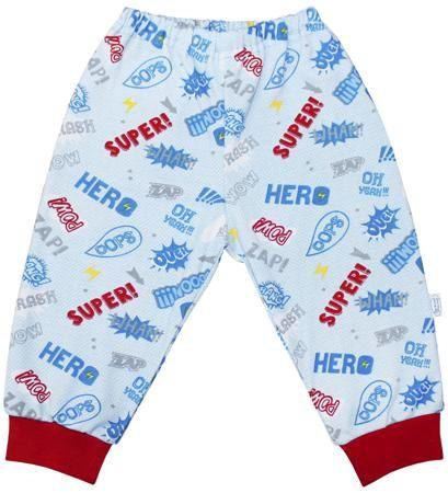 Веселый малыш Супергерой красные  — 310р. ---------------------- Штанишки Супергерой Веселый малыш - это удобная одежда для дома. Верх на резинке, низ на манжетах. Декоративные надписи. Приятная расцветка.