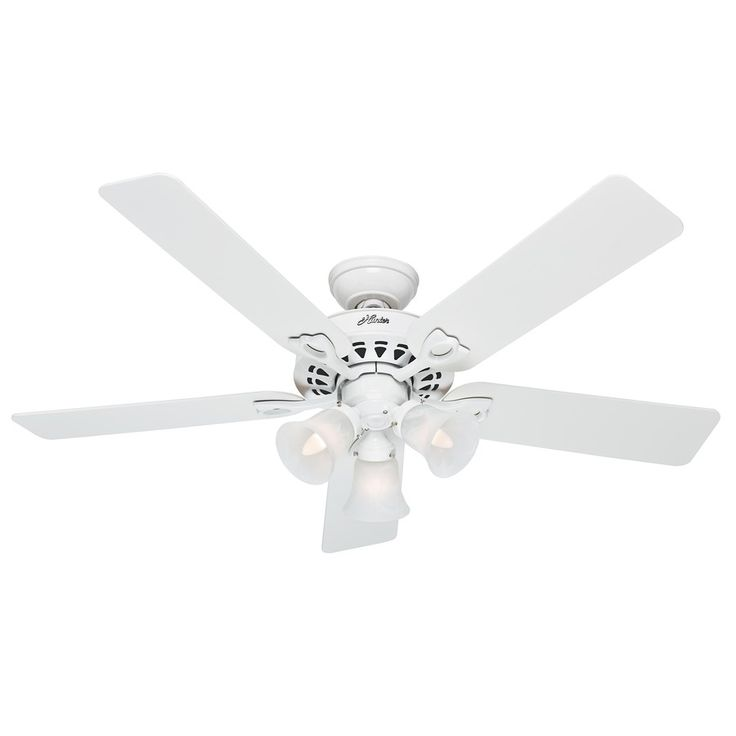 Hunter The Sontera 52 In White Downrod Or Close Mount Indoor Ceiling Fan With Light Kit And Remote 53114