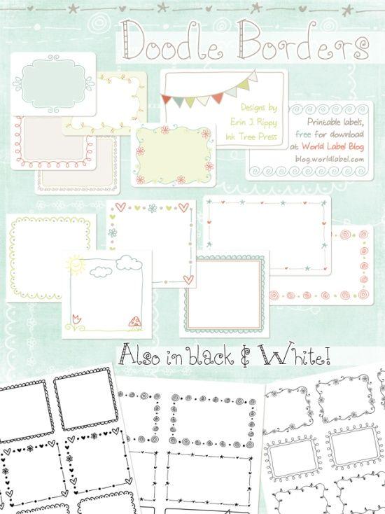 Printable Doodle Borders Labels By Inktreepress World Label Blog