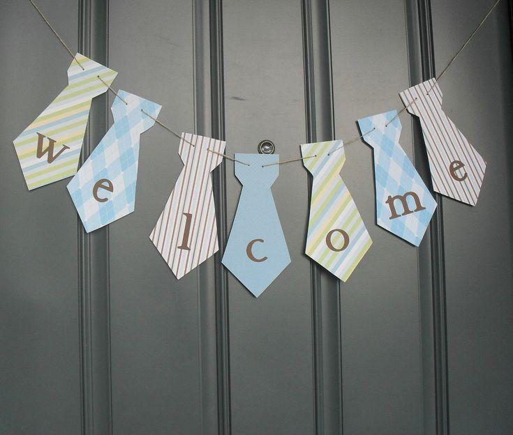 Little Man necktie banner WELCOME Birthday party, baby shower - Blue, Brown, Green