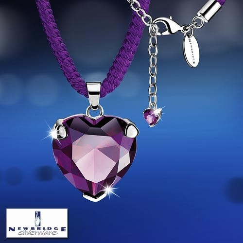 Siopa Newbridge Amore Purple Heart Pendant Silverware | Home