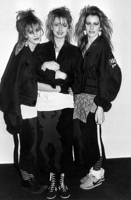 British all-girl pop group Bananarama, 1984. Left to right. Siobhan Fahey, Keren Woodward and Sarah Dallin.. Photo: Dave Hogan