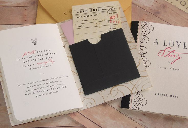 Happily Ever After Wedding Invitations: Fairy Tale Happily Ever After Library Themed