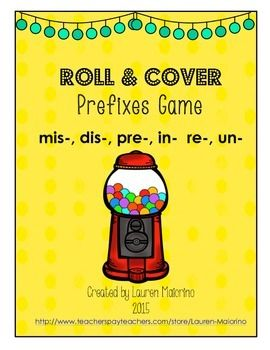 This is a fun little game to help your students practice the prefixes un, re, pre, mis, and dis. Students roll a dice, and use the key to find a word containing the rolled prefix. For example: Roll a 3, and find a word beginning with in-. Blot the word with a Bingo blotter or color it.