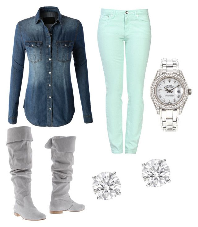 """""""Light turquoise pants outfit"""" by victoriaurness on Polyvore featuring LE3NO, Love Moschino and Rolex"""