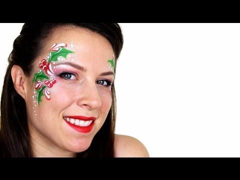Holly Christmas Face Painting Tutorial - YouTube
