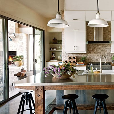 island with room for chairs.  but butcher block top.  like the legs.  can we do the wooden pegs?