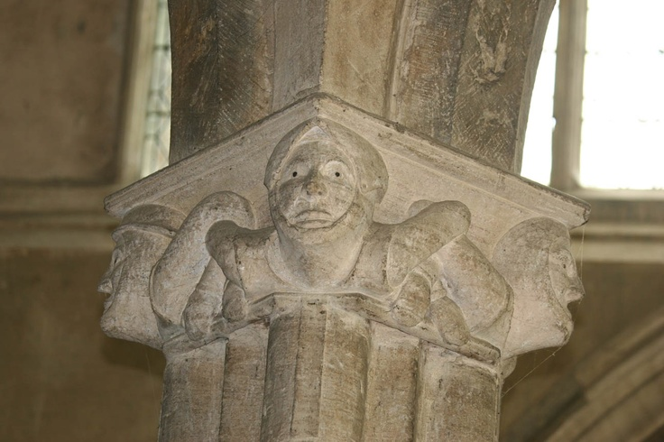 Carved stone column detail in St. Mary's Church, Adderbury