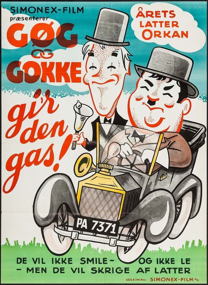 Laurel and Hardy in Gi'r Den Gas! Danish Movie Poster Comedy R-1950s