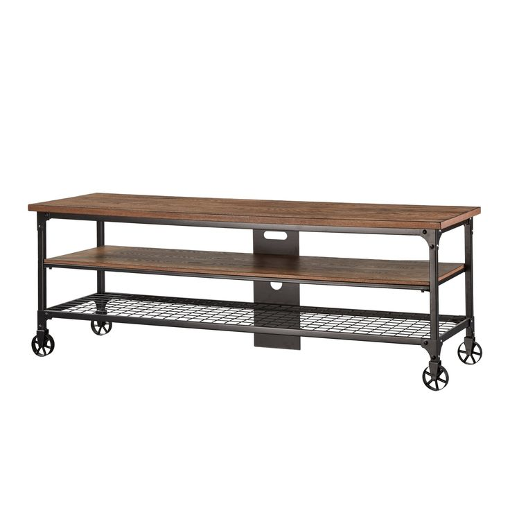 Nelson Industrial Modern Rustic Console Sofa Table TV Stand by Tribecca Home (65-inch wide), Brown