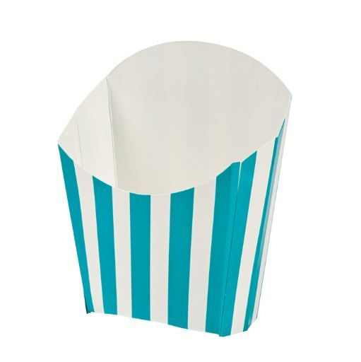 Turquoise Striped Chip Scoops (6) .  Not just for chips! Serve up all sorts of goodies in these paper containers.    8.9cm x 11.4cm.