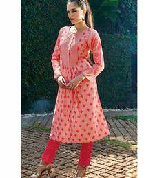 Buy Peach embroidered cotton kurtas-and-kurtis kurtas-and-kurti online