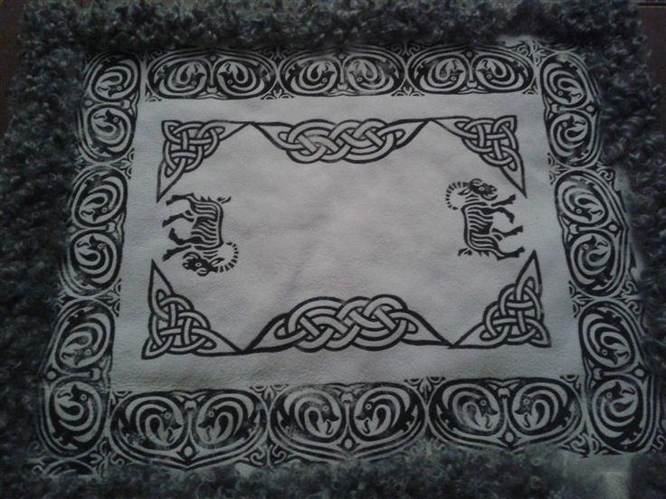 Tryckt fälltäcke från Apleröds fårgård.