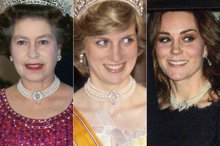 Pregnant Kate Middleton Borrows the Queen's Pearl Choker Once Also Worn by Princess Diana