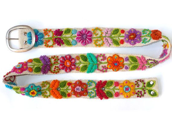 Floral embroidered belt White, belt black, belt blue, belt brown,belt hand embroidered wool, colorful belts, woman belts