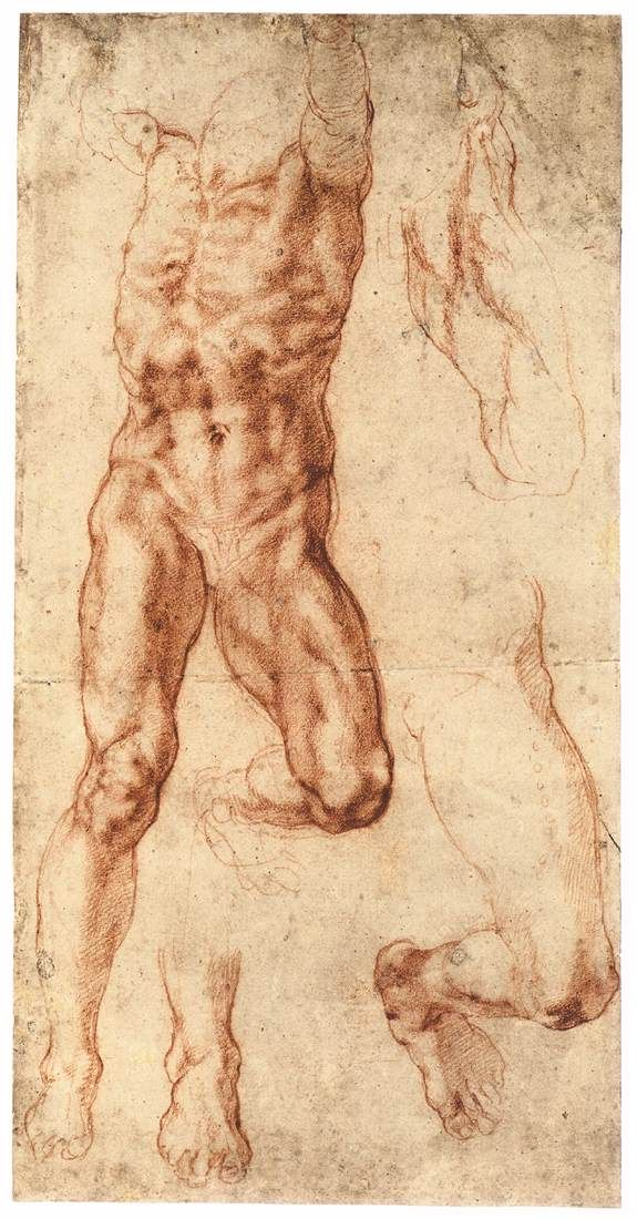 Michelangelo, Four Studies for the Crucified Haman (recto), c. 1512, Red chalk, 406 x 207 mm, British Museum, London
