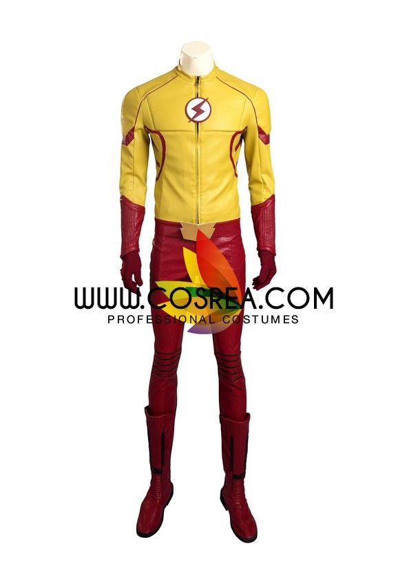 Costume Detail Flash Season 3 Kid Flash Cosplay Costume Includes: Top, Pants, Arm Guard, Belt, Matching Boots Please see individual tabs for information including: -available sizes for this costume -a
