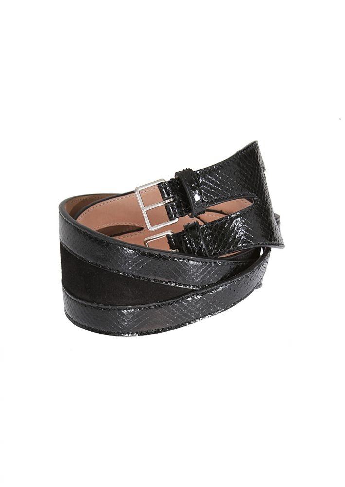 Azzedine Alaïa Belt :: Azzedine Alaïa black suede and python belt | Montaigne Market