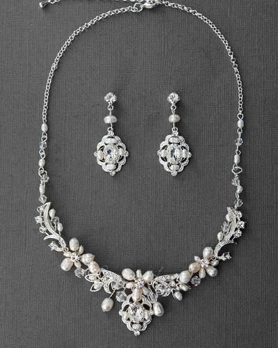 Vintage Bridal Necklace Set of Pearl and Crystal