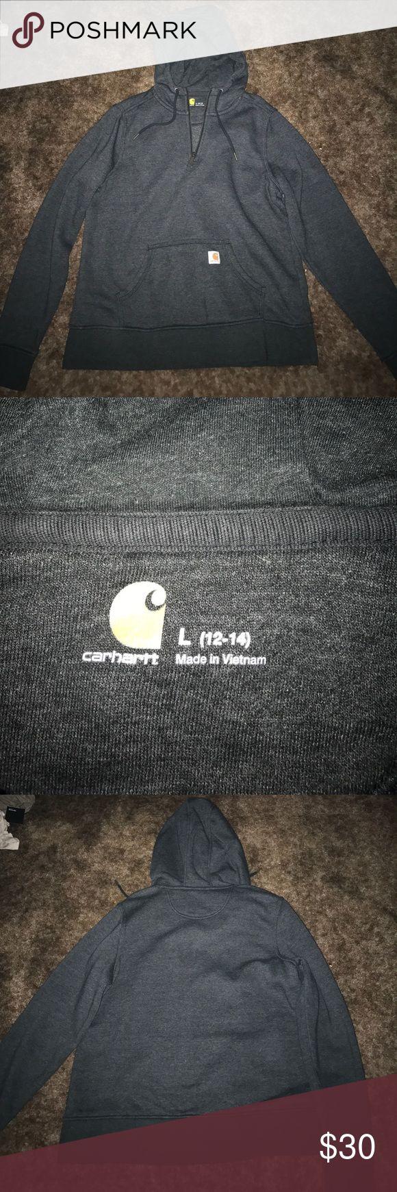 Carhartt sweatshirt Dark grey carhartt sweatshirt half zip. Large. With hood. worn maybe twice Carhartt Jackets & Coats