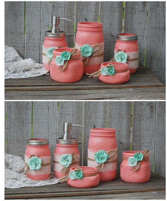 Mason Jar Bathroom Set, Coral, Mint Green, Shabby Chic, Soap Dispenser, Bathroom Jars, 5 Piece Set, Burlap, Rustic, Distressed, Beach Decor