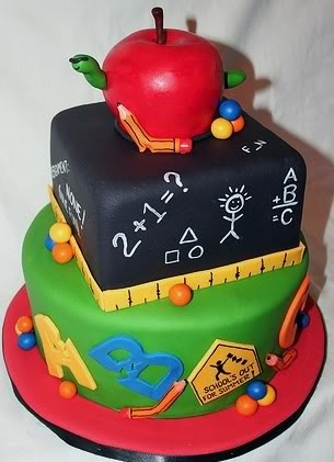 Teacher fondant cake.  I don't care for the broken pencils and alphabet though.