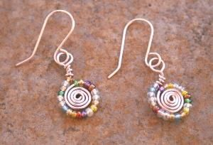 Handmade Pink Wire Wrapped Earrings , Multicolored Glass Bead Wire Earrings , Spring Color Jewelry on Etsy, $12.00 by elisa