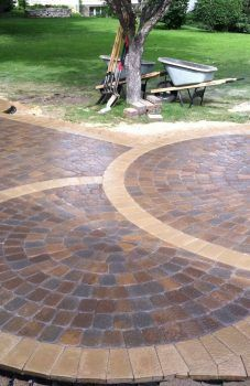 The Nearly Completedr Patio Anchor Kingston Pavers Were Kit Paver Kits Home Depot Circular Menards Circle Lowes