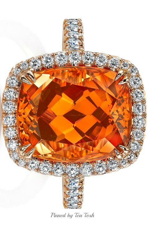 GLAM & LUXURY Jems ❇Ritani Cushion-cut Spessartite Garnet Diamond Halo…