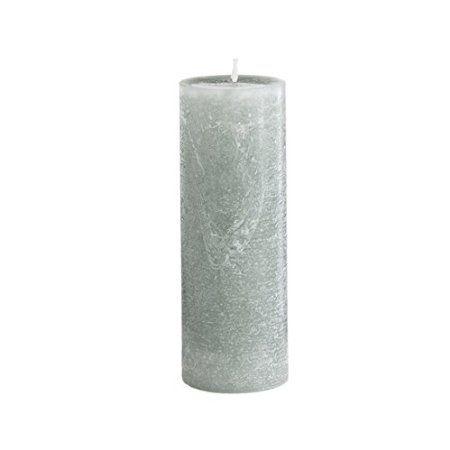 Sia Home Fashion 20 cm Wax Un-Scented Rustic Pillar Candle, Light Green