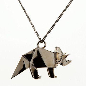 Necklace Triceratops | Origami Jewellery. $170. triceratops dinosaur origami jewelry necklace