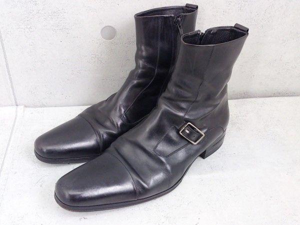 ● DIOR ディオール オム レザー サイドジップ モンクストラップ ショート ブーツ 42 ブラック # ◆ 1000001117058_画像1