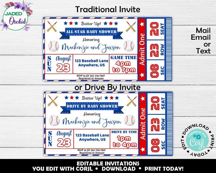 All star baseball ticket invitation baseball baby shower