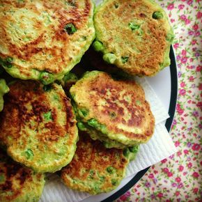 pea fritters - actually really delicious (even for adults following this recipe, especially good with dry sparkling wine!)