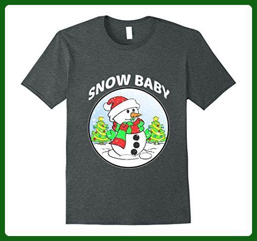 Mens Funny Snow Baby T-shirt Snowman Christmas Jumper Gift Medium Dark Heather - Holiday and seasonal shirts (*Amazon Partner-Link)