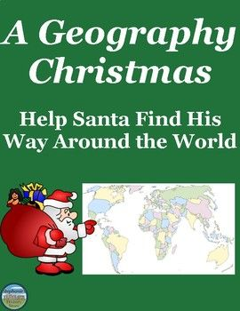 tudents review map skills (cardinal directions, latitude, longitude), what they learned about political and physical geography, and research skills by helping Santa and his reindeer get from one location to another to deliver presents. There are 25 questions and each answer is a different location in the world (country, city, body of water, etc). After answering the questions, students map each location that Santa went to, and then they send him to 4 more of their own design. The answers are…