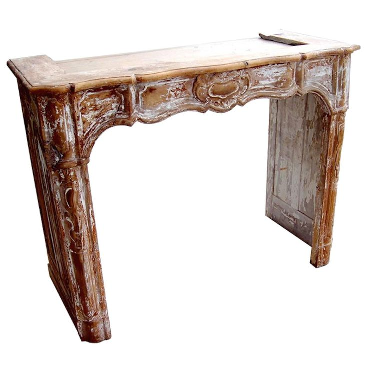 French 19th Century Hand-Carved Wood Fireplace mantle 1