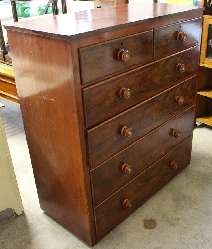Sold! Large Victorian Mahogany Chest of Drawers. Six drawers in total, two half length and 4 full length. Size is 44 inches in length x 28 inches in width x 48 inches in height.