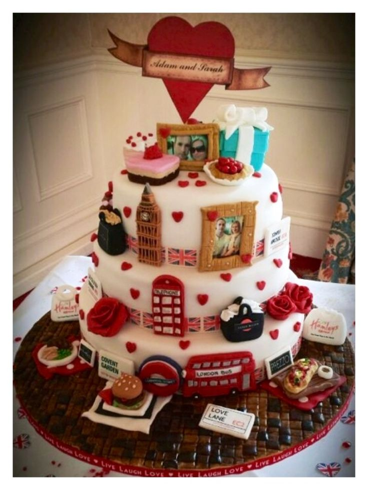 Very Fun And Personalized London Theme Wedding Cake