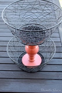 Like the idea - I would use chicekn wire baskets and a distressed white candle stick