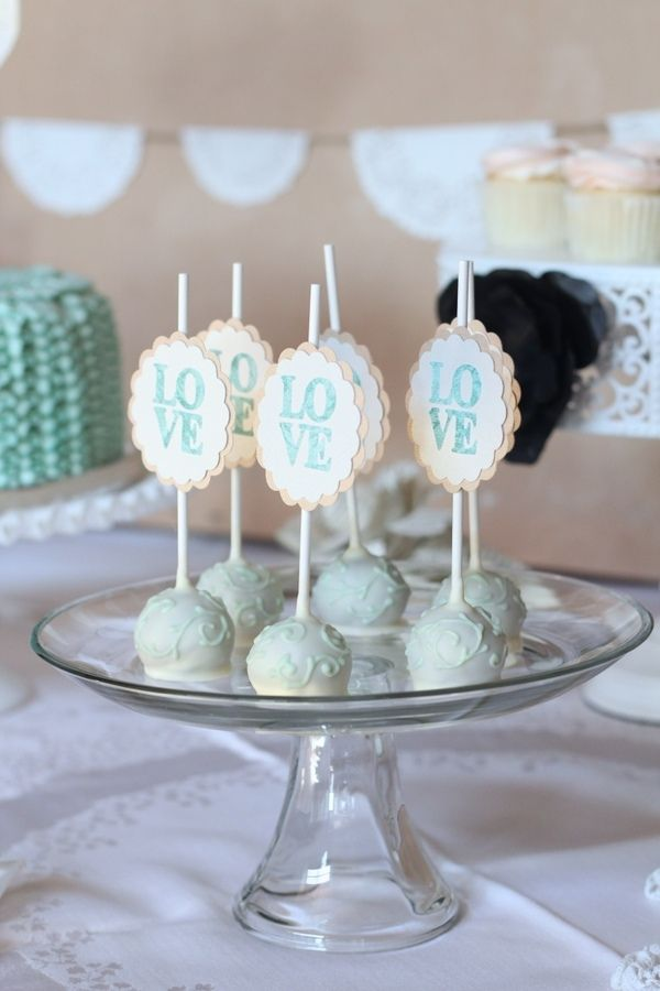 Wedding cake pops. Like the LOVE cards :)