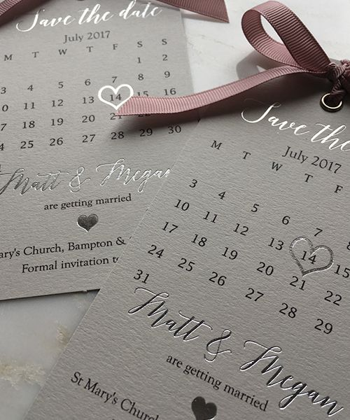 Pale Grey and Silver Save the Date tags