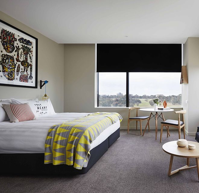 The Larwill Studio, our hotel in North Melbourne, draws inspiration from work of Australian artist David Larwill to bring cosy rooms and unique amenities.