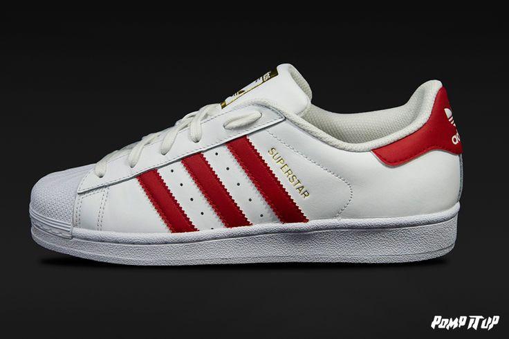 Adidas Superstar Foundation (FTWWHT/SCARLE/FTWWHT) Sizes: 36 to 46 EUR Price: CHF 130.- #Adidas #Superstar #Foundation #AdidasSuperstar #Sneakers #SneakersAddict #PompItUp #PompItUpShop #PompItUpCommunity #Switzerland