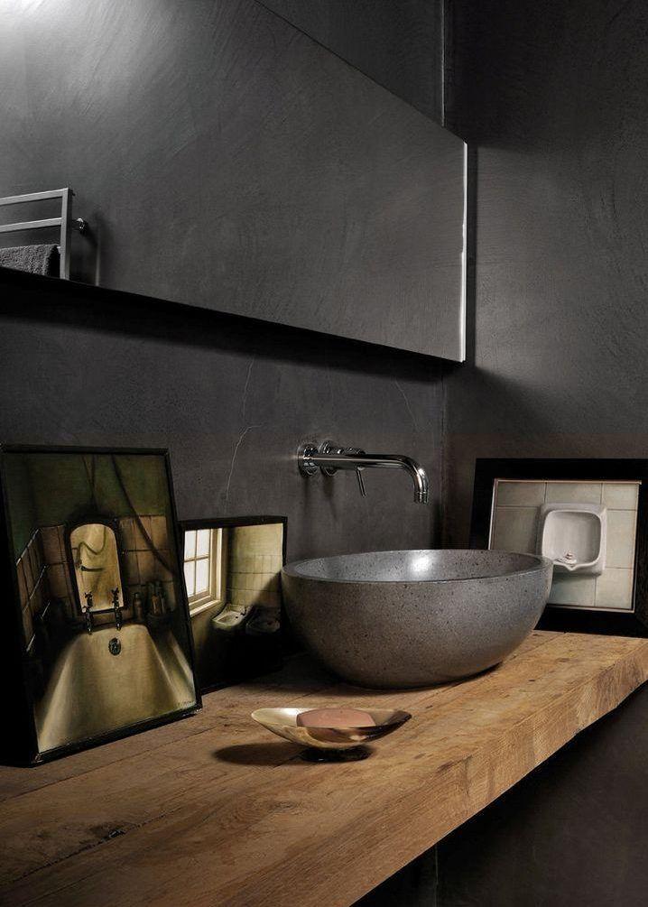 Stilvolle und mutige Badgestaltung in Schwarz
