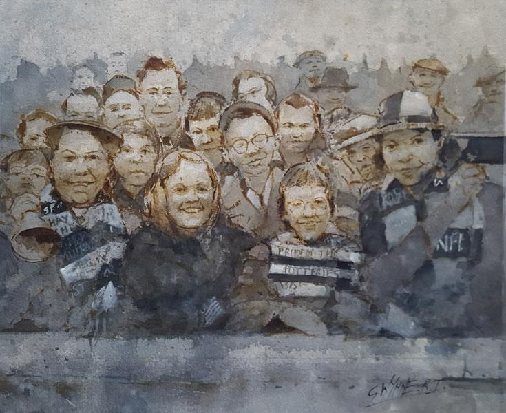 Port Vale Football Art - The Valiants Crowd at Fulham 1962 by Geoffrey Wynne RI