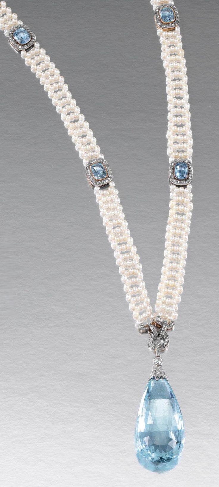 Belle Epoch Aquamarine & Pearl Sautoir