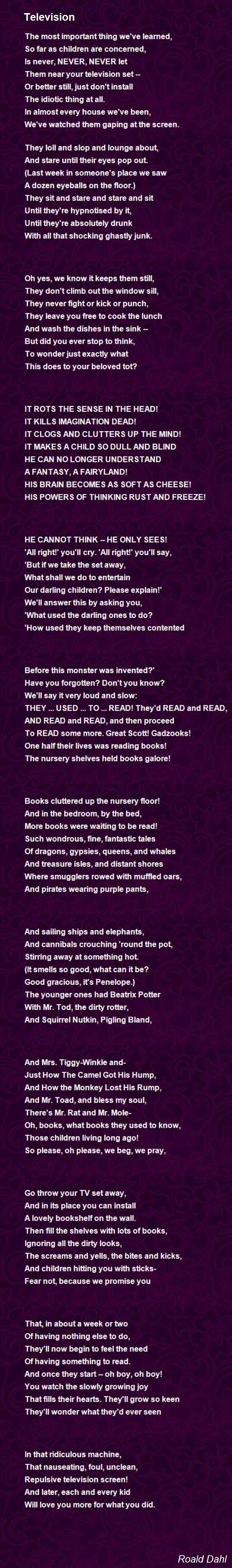 Television Poem by Roald Dahl - Poem Hunter